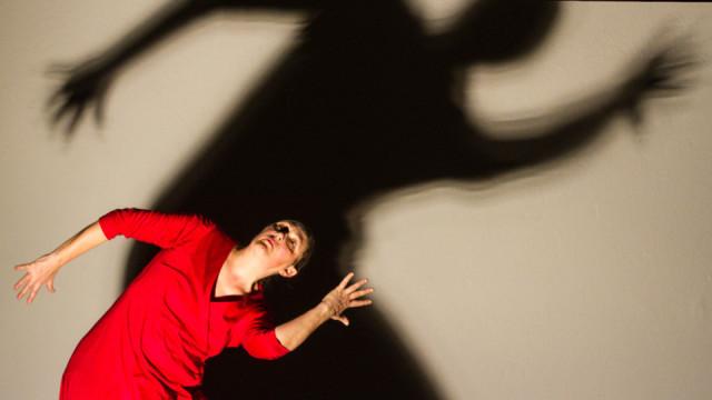 Beeindruckende Schattenspiele: Kersten Elisabeth Pfaff tanzte am Abend des Karfreitages im Bergkloster Bestwig die Leidensgeschichte Jesu. Foto: SMMP/Ulrich Bock