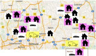 Diese Karte zeigt den geplanten Stand der Seniorenhilfe SMMP in zwei Jahren: Sechs stationäre Heime (schwarze Häuschen), zehn ambulante WGs (rosa unterlegte Häuschen), zwei Tagespflegen (gelbe Autos) und vier ambulante Dienste (weiße Autos).