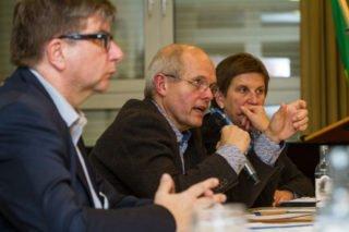 Auf dem Podium: Moderator Winifried Meilwes, Ulrich Klauke und Dr. Claudia Lücking-Michel. Foto: SMMP/ Ulrich Bock